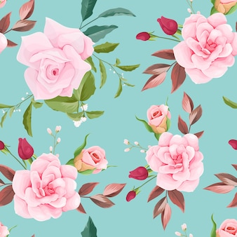 Ручной обращается цветочные и листья бесшовные модели дизайна