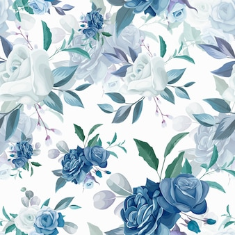 手描きの花と葉のシームレスなパターンデザイン