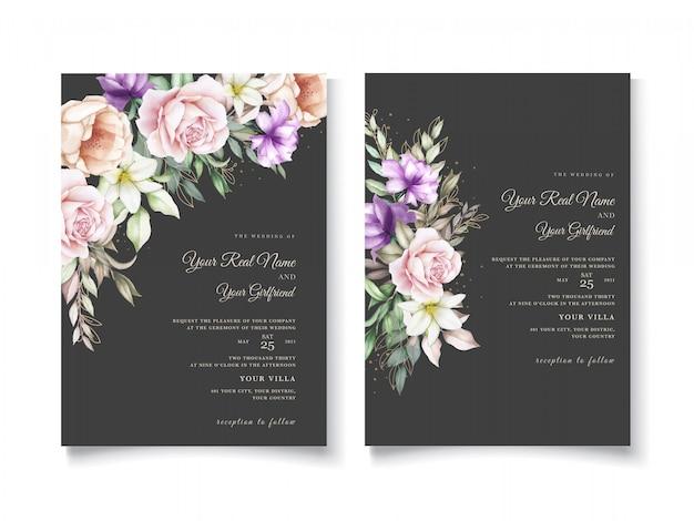 Рисованной цветочные и листья свадебные приглашения