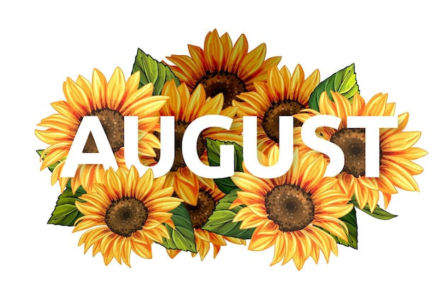 Hand drawn floral august lettering