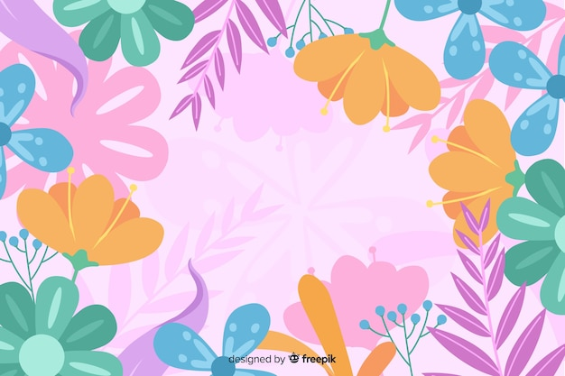 Hand drawn floral background abstract