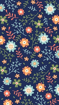 Hand-drawn floral background for mobile