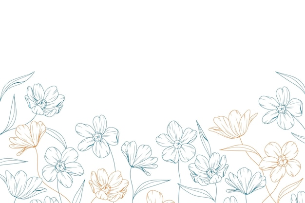 Hand drawn floral background with copy space