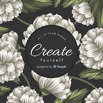 Hand drawn floral background with slogan