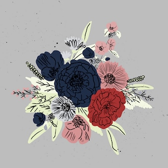 Hand drawn floral background