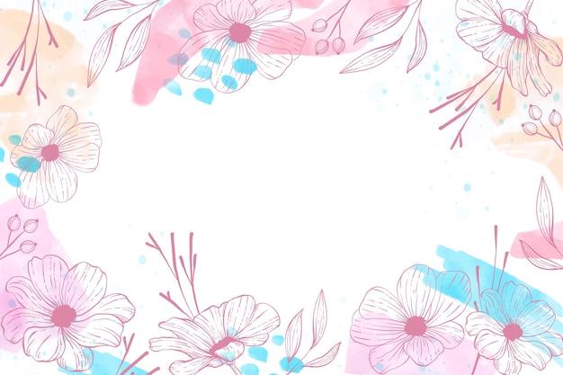 손으로 그린 꽃 배경