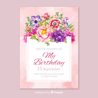 Hand drawn floral birthday invitation template