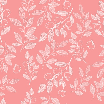 Hand drawn floral blossom seamless pattern
