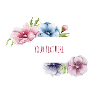 Hand drawn floral border with anemone flowers