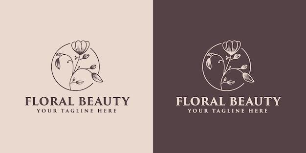 手描きの花の植物のロゴフレーム