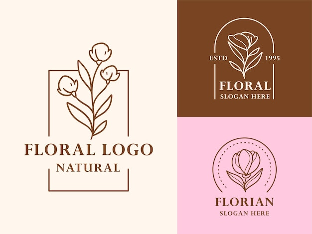 Hand drawn floral botanical logo illustration collection for beauty, natural, organic brand