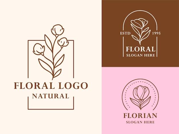 Нарисованная рукой коллекция иллюстраций цветочно-ботанического логотипа для красоты, натурального, органического бренда