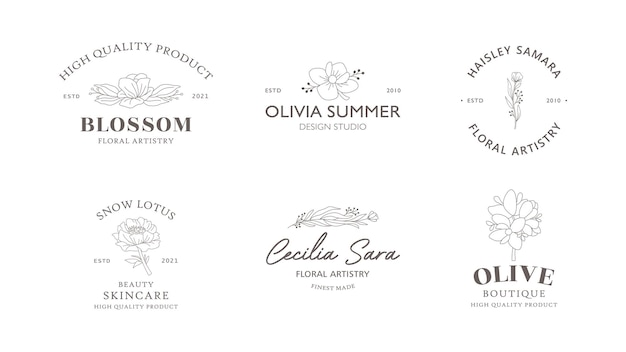 Hand drawn floral and botanical logo templates collection
