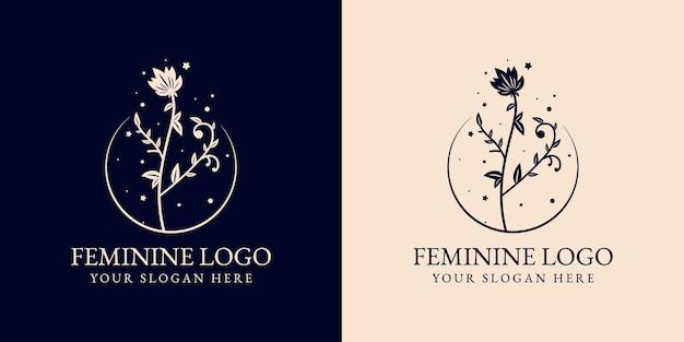 手描きの花の植物のロゴ