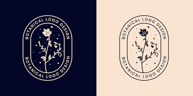 Hand drawn floral botanical logo