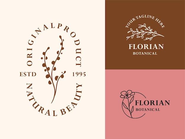 Рука нарисованные цветочные ботанические логотип