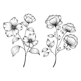 手描きの花の植物の野生の花のスケッチペンとインク