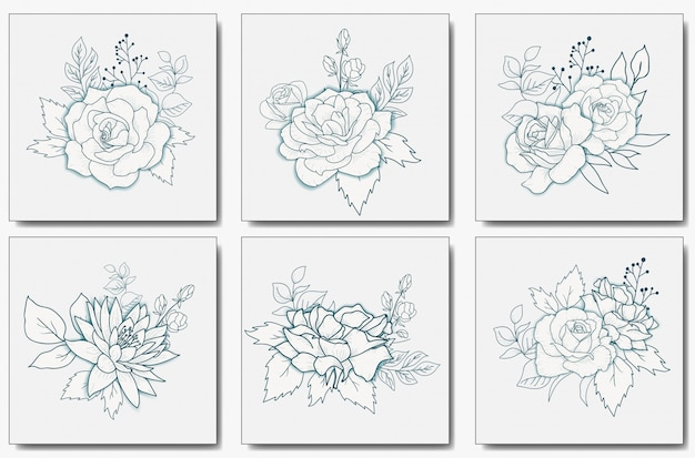 Hand drawn floral bouquet vector