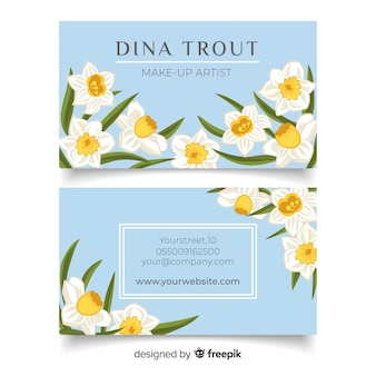 Hand drawn floral business card template