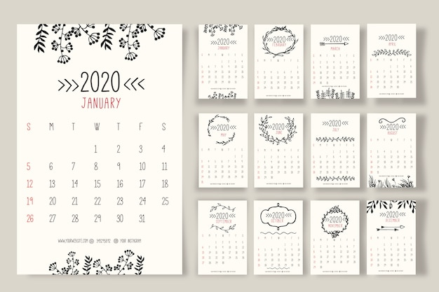 Hand drawn floral calendar 2020 template