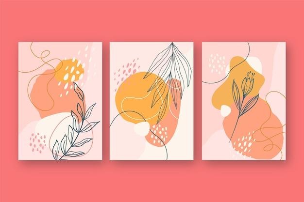 Collezione di carte floreali disegnate a mano