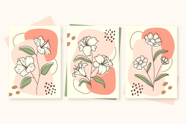 Hand drawn floral cards collection