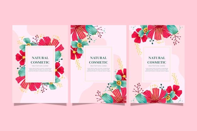 Collezione di carte floreali disegnate a mano Vettore gratuito