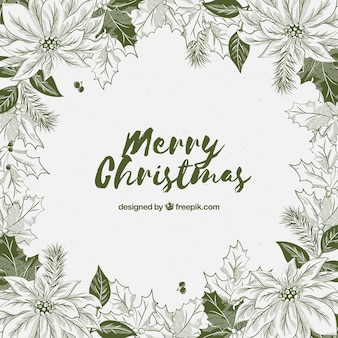 Hand drawn floral christmas background