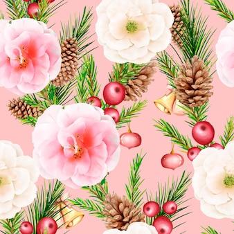 手描きの花のクリスマスのシームレスなパターン