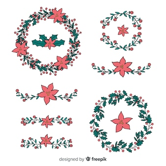 Hand drawn floral christmas wreath