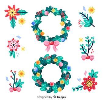 Hand drawn floral christmas wreaths and flowers