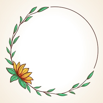 結婚式の招待状やグリーティングカード用の手描き花サークルフレーム