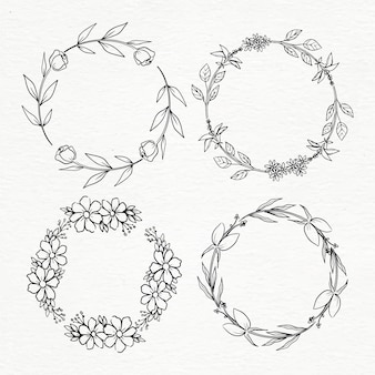 Hand drawn floral circular frame set