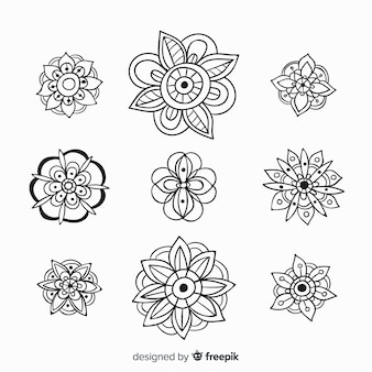 Hand drawn floral decoration element collection