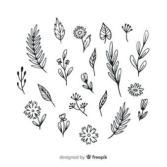 Hand drawn floral decoration elements
