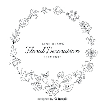 Hand drawn floral decoration elements