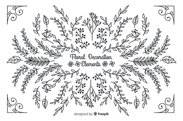 Hand drawn floral decorative elements
