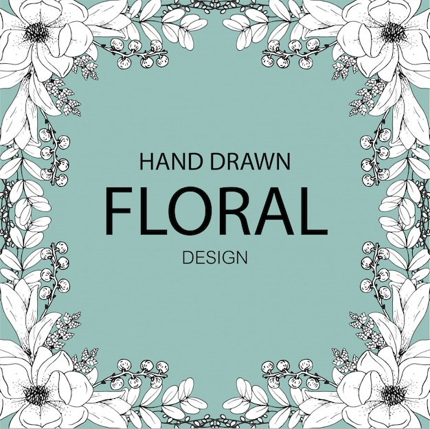 Hand drawn floral design line art premium