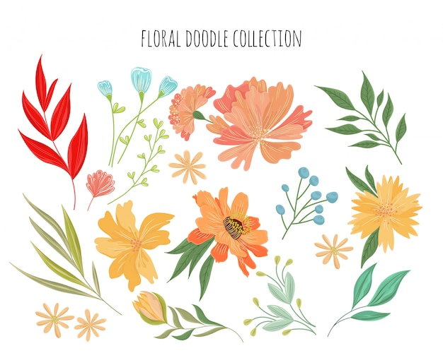 Hand drawn floral doodle collection