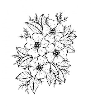 Hand drawn floral doodle. coloring pages for book.   line art