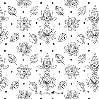 Hand drawn floral element pattern