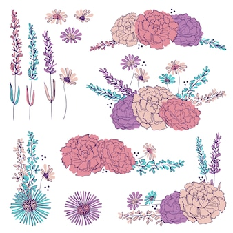 Hand drawn floral elements and bouquets
