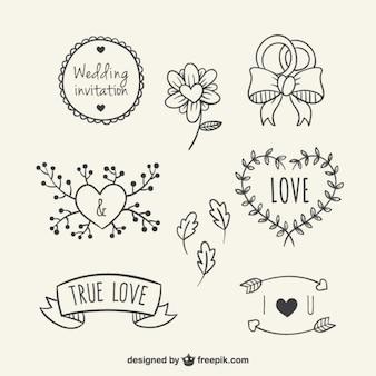 結婚式のための手描き花の要素