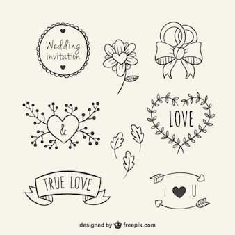 Hand drawn floral elements for wedding