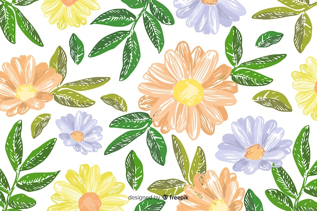 Hand drawn floral embroidery background
