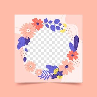 손으로 그린 된 꽃 페이스 북 프레임