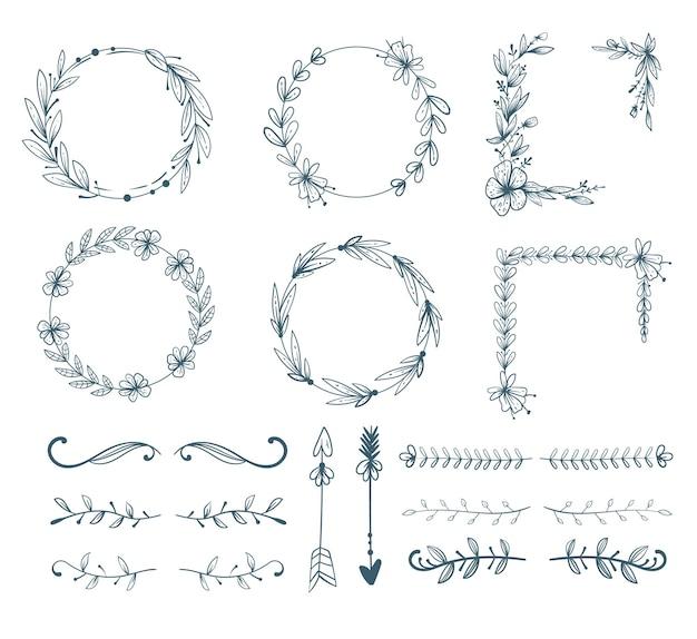 手描き花花落書き線スケッチフレーム矢印要素分離デザインベクトルセット