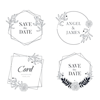 Hand drawn floral frame background collection