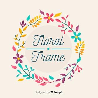 Hand drawn floral frame background