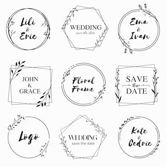 결혼식 초대 카드 디자인을위한 손으로 그린 꽃 프레임 컬렉션
